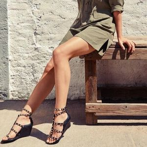08cb831d0407 Ash Shoes - Ash Dafne Tan Suede Studded Wedge Sandal